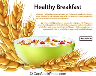 Healthy breakfast banner or background vector