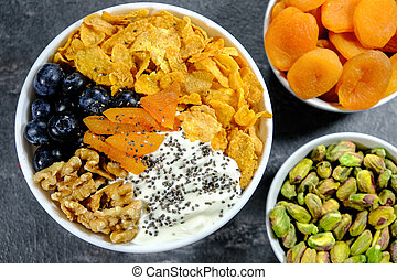 Healthy Breakfast Bowl Cereals Fruits and Nuts