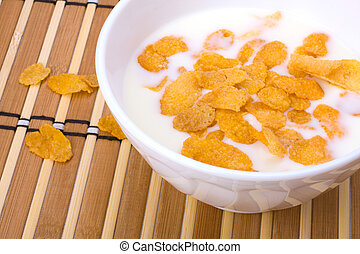 Healthy breakfast. Bowl with corn flakes.
