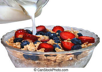 Healthy Breakfast - Breakfast cereal with strawberries and...