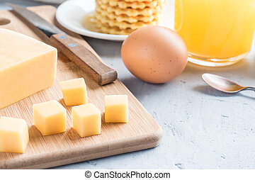 Healthy Breakfast Cheese Juice coffee Honey Peanuts Egg waffle Cookies Apple coffee Selective focus.