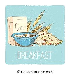 Healthy breakfast concept - hand drawn porrige cereals wheat muesli