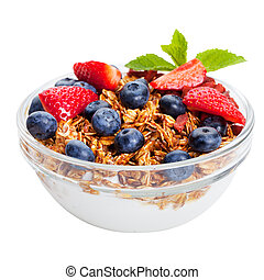 Healthy breakfast Fresh granola, muesli in bowl with berries Isolated on white
