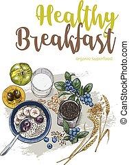 Healthy breakfast, full color vector realistic sketch poster...