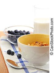 Healthy breakfast - Healthy breaksfast of cereal, milk and...