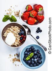 Healthy breakfast - muesli and berries