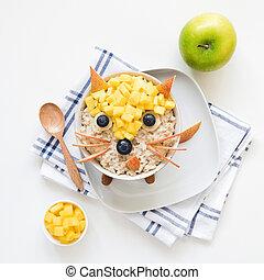 Healthy breakfast oatmeal porridge for kids