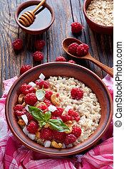 healthy breakfast - oatmeal porridge, top view