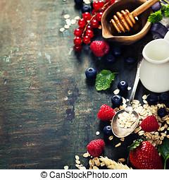 Healthy Breakfast. Oats, berries and milk.