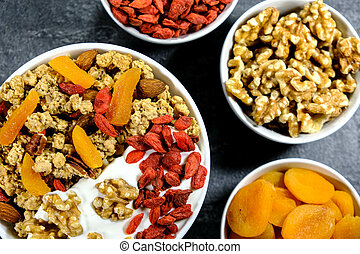 Healthy Breakfast of Cereals With Dried Fruit and Nuts