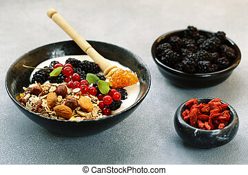healthy breakfast of granola with berries and nuts