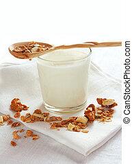 muesli and glass of milk