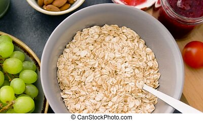 healthy breakfast of oatmeal and other food - food, healthy...