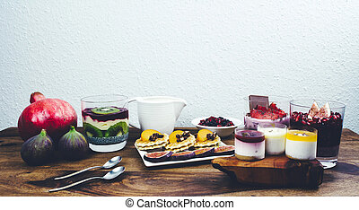 Healthy breakfast on rustic wooden table.