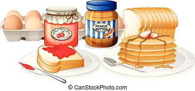 Healthy Breakfast on White Background