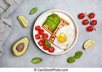 savory waffles with avocado, egg