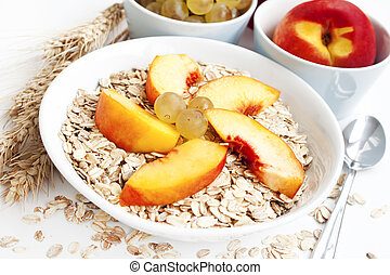 Healthy breakfast - healthy breakfast with peaches,grapes...
