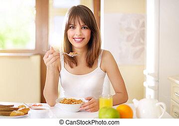 Healthy Breakfast. Woman eating breakfast