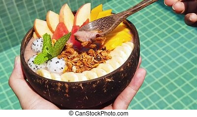 Healthy Breakfast. Vegan Smoothie Bowl With Fresh Fruits And...