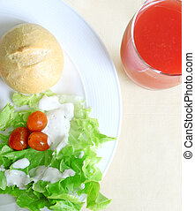 Healthy breakfast, watermelon juice and fresh vegetables with bread