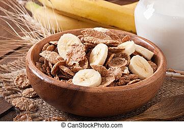 Healthy breakfast - whole grain muesli with a banana