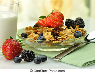 healthy breakfast with bran and raisin cereal