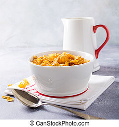 Healthy breakfast with corn flakes