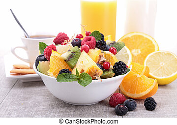 healthy breakfast with fruits