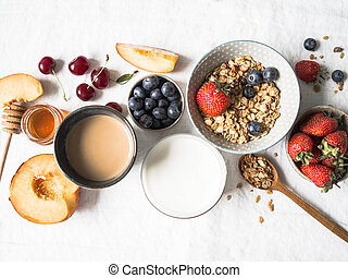Healthy breakfast with granola and coffee with milk.