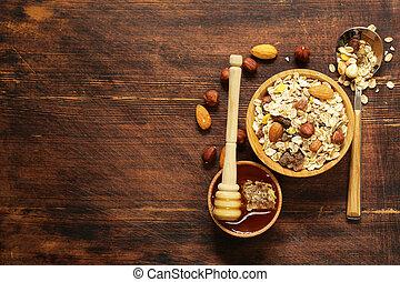 Healthy breakfast with homemade granola