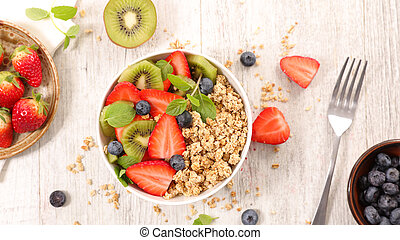 healthy breakfast with muesli and fruits
