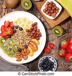 healthy breakfast with quinoa and fruits