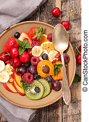 healthy breakfast with selection diet fruit