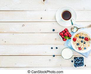 healthy breakfast with text space top view