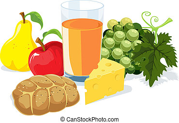breakfast with juice, pea, apple, wine and cheese