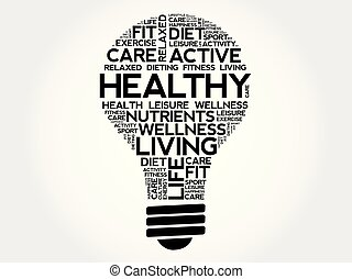HEALTHY bulb word cloud collage