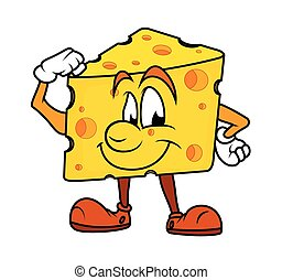 Healthy Cartoon Cheese Vector Illustration