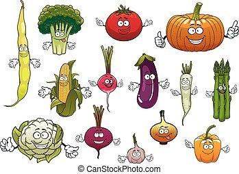 Healthy cartoon happy farm vegetables - Farm cartoon ripe...