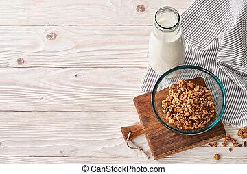 Healthy cereal breakfast background