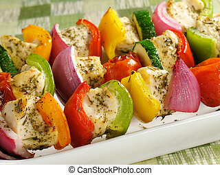 Healthy Chicken Kabobs - Seasoned chicken kabobs with bell...