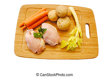 Healthy Chicken Meal Ingredients on a Cutting Board