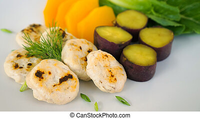 healthy chicken nugget with steamed vegetables