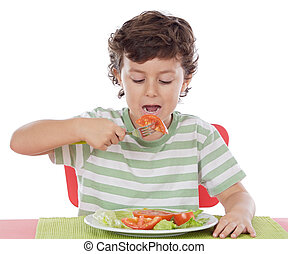 Healthy child eating balanced diet a over withe background