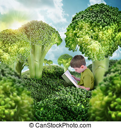 Healthy Child Reading Book in Green Broccoli Landscape - A...
