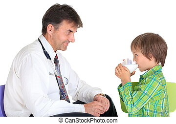 Healthy child with doctor