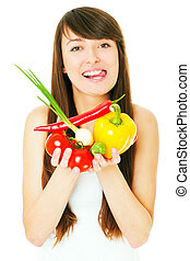 A picture of a young woman holding vegetables over white background