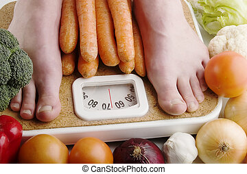 Healthy Choices - A pair of female feet standing on a ...