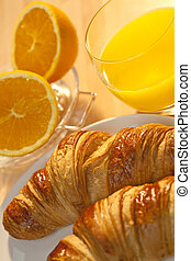 Healthy Continental Breakfast Croissant and Orange Juice