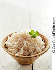 Healthy cooked par-boiled rice in a bowl