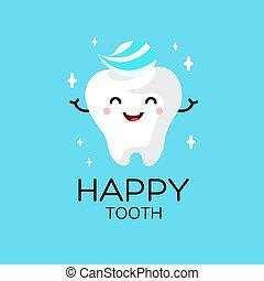 Healthy cute cartoon tooth character